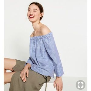 Zara Woman Striped Off the Shoulder Blouse